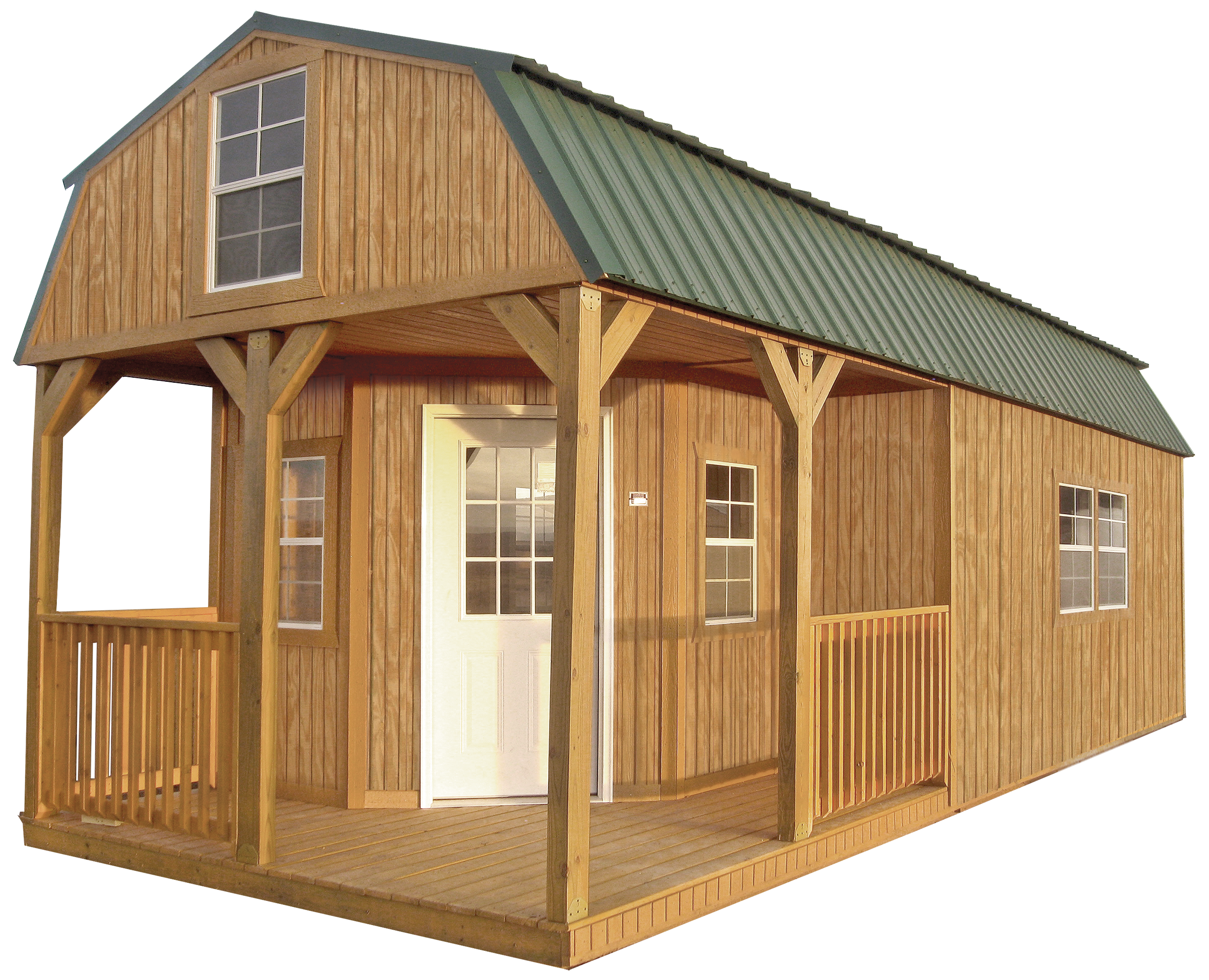 Gallery johnson portable buildings covington for Shed with loft and porch